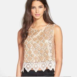 NWT ASTR Gold Sequin Lace Crochet Boho Crop Top